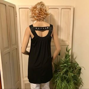 XOXO Tops - Black silky tunic with stud accent